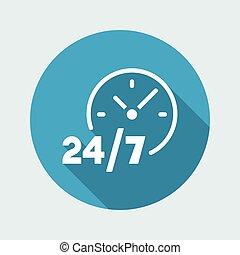 24/7, servicio, -, vector, tela, icono