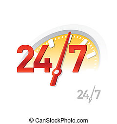 24/7 sign - Vector illustration of a 24/7 sign
