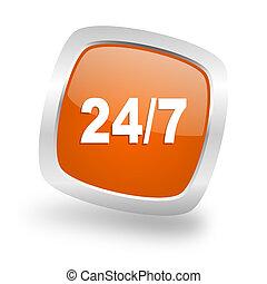 24/7 square orange glossy chrome silver metallic web icon