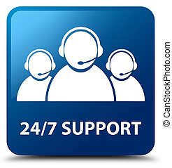24/7 Support (customer care team icon) blue square button