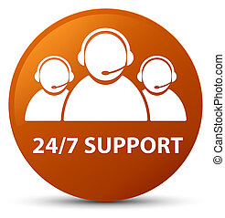 24/7 Support (customer care team icon) brown round button