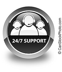 24/7 Support (customer care team icon) glossy black round button