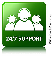 24/7 Support (customer care team icon) green square button