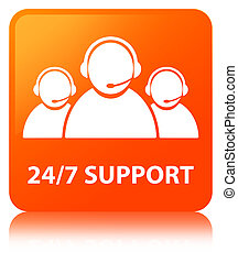 24/7 Support (customer care team icon) orange square button