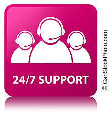 24/7 Support (customer care team icon) pink square button