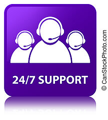 24/7 Support (customer care team icon) purple square button