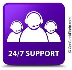 24/7 Support (customer care team icon) purple square button