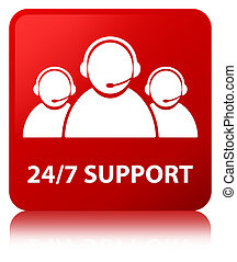 24/7 Support (customer care team icon) red square button