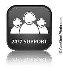 24/7 Support (customer care team icon) special black square button