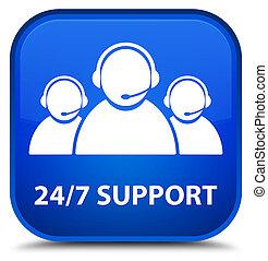24/7 Support (customer care team icon) special blue square button