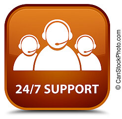 24/7 Support (customer care team icon) special brown square button