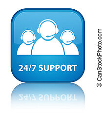 24/7 Support (customer care team icon) special cyan blue square button