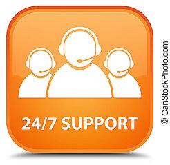 24/7 Support (customer care team icon) special orange square button
