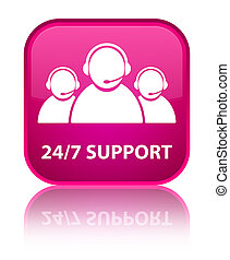 24/7 Support (customer care team icon) special pink square button