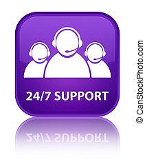 24/7 Support (customer care team icon) special purple square button