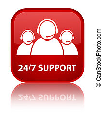 24/7 Support (customer care team icon) special red square button