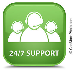 24/7 Support (customer care team icon) special soft green square button