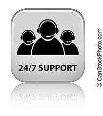 24/7 Support (customer care team icon) special white square button