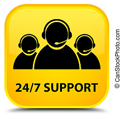 24/7 Support (customer care team icon) special yellow square button