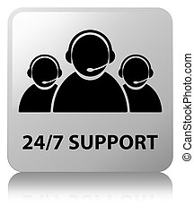 24/7 Support (customer care team icon) white square button