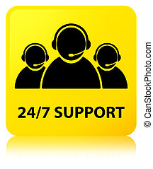24/7 Support (customer care team icon) yellow square button