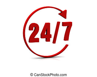 24/7 symbol - Symbol in 3d that show full 24/7 availability