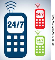 24/7, téléphone, service, icône