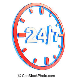 24/7 twenty four hour seven days a week emblem icon - 24/7...