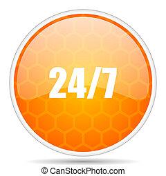 24/7 web icon. Round orange glossy internet button for webdesign.