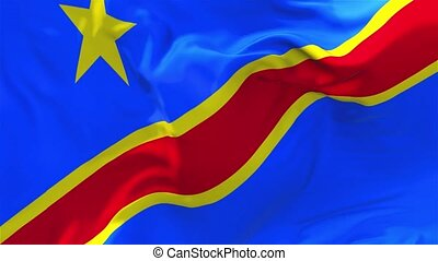 249. The Democratic Republic Of The Congo Flag Waving Seamless Loop Background.