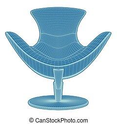 24.eps, fauteuil, vecteur, moderne