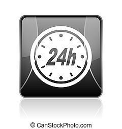 24h, 黑色, 广场, 网, 有光泽, 图标