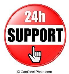24h, apoio, botão, vermelho