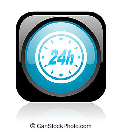 24h black and blue square web glossy icon