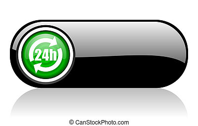 24h black and green web icon on white background