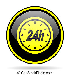 24h black and yellow glossy internet icon