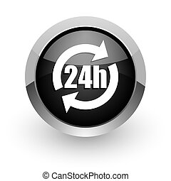 24h black chrome glossy web icon