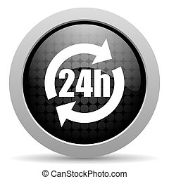 24h black circle web glossy icon