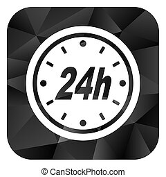 24h black color web modern brillant design square internet icon on white background.