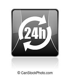 24h black square web glossy icon