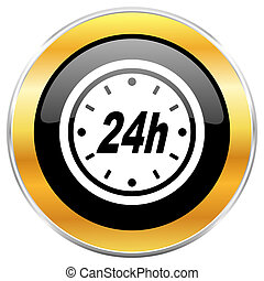 24h black web icon with golden border isolated on white background. Round glossy button.