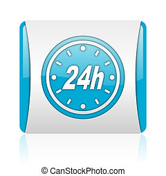 24h blue and white square web glossy icon