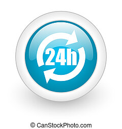 24h blue circle glossy web icon on white background