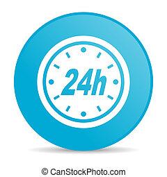 24h blue circle web glossy icon