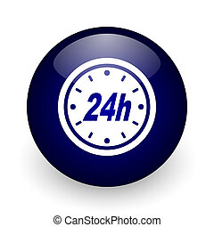 24h blue glossy ball web icon on white background. Round 3d render button.