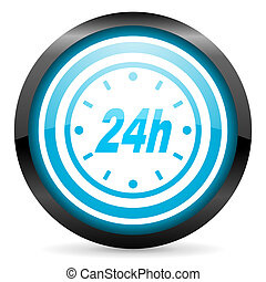 24h blue glossy circle icon on white background