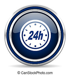 24h blue glossy web icon