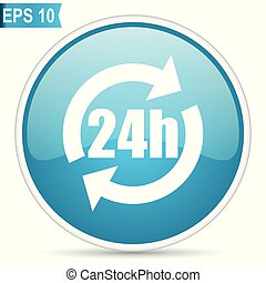 24h blue round glossy web vector icon in eps 10