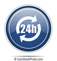 24h blue round web icon. Circle isolated internet button for webdesign and smartphone applications.