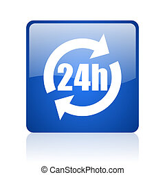 24h blue square glossy web icon on white background